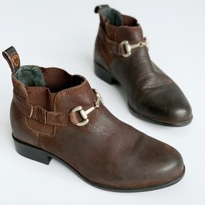 Ariat Snaffle Brown Leather Horsebit Booties 7M
